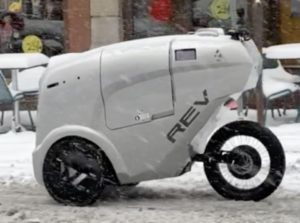 Delivery robots testing in winter