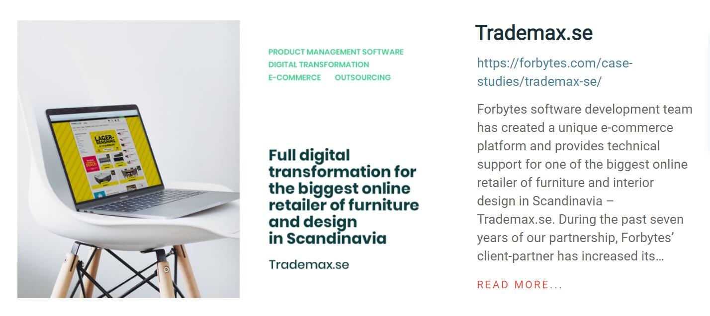 Forbytes portfolio example Trademax