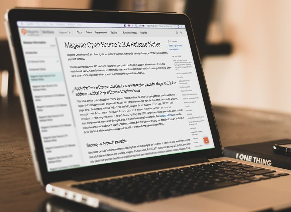 magento article on the laptop screen