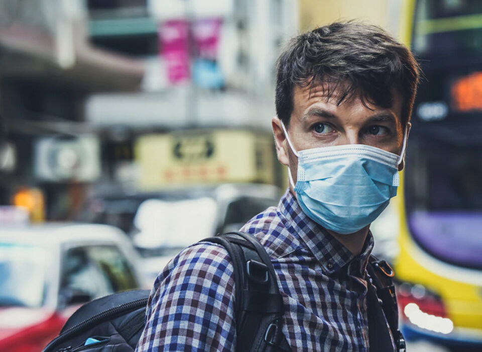 Man wearing mask pandemic