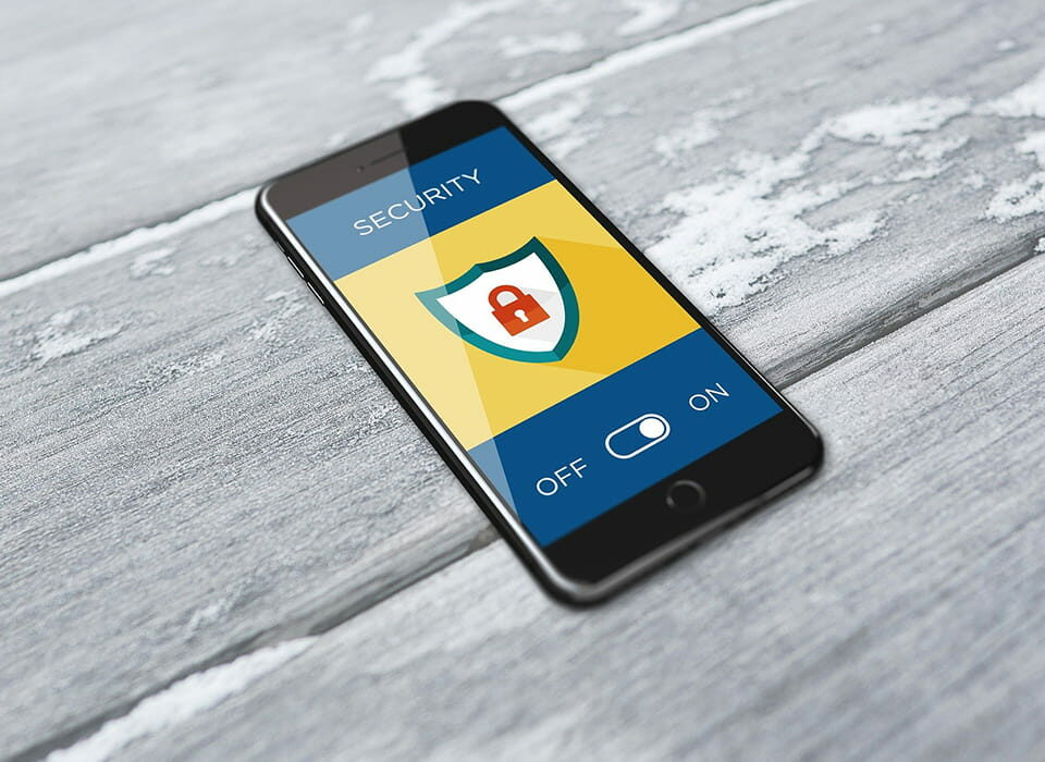 eCommerce security symbol on smartphone screen