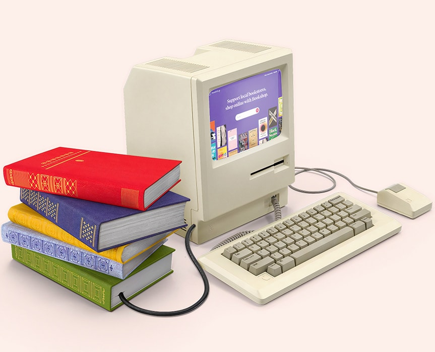 Computer with Machine learning application on screen and books